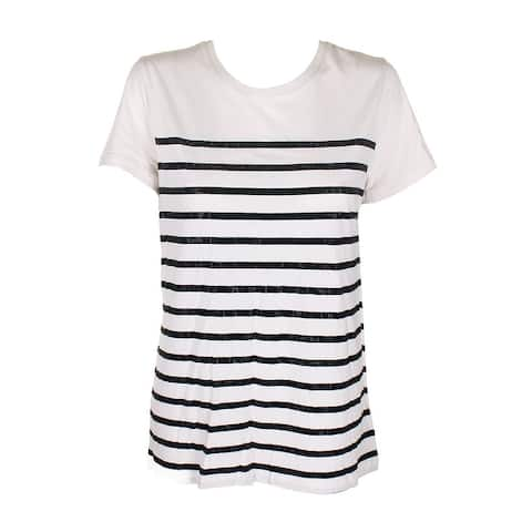 Lauren Ralph Lauren Winter Cream Black Short-Sleeve Stud-Striped T-Shirt L