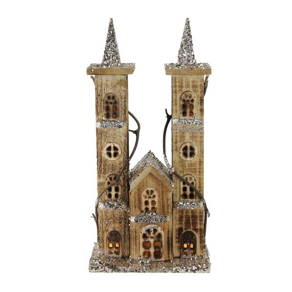 "15.75"" LED Lighted Double Tower Brown Wooden Church Christmas Decoration"