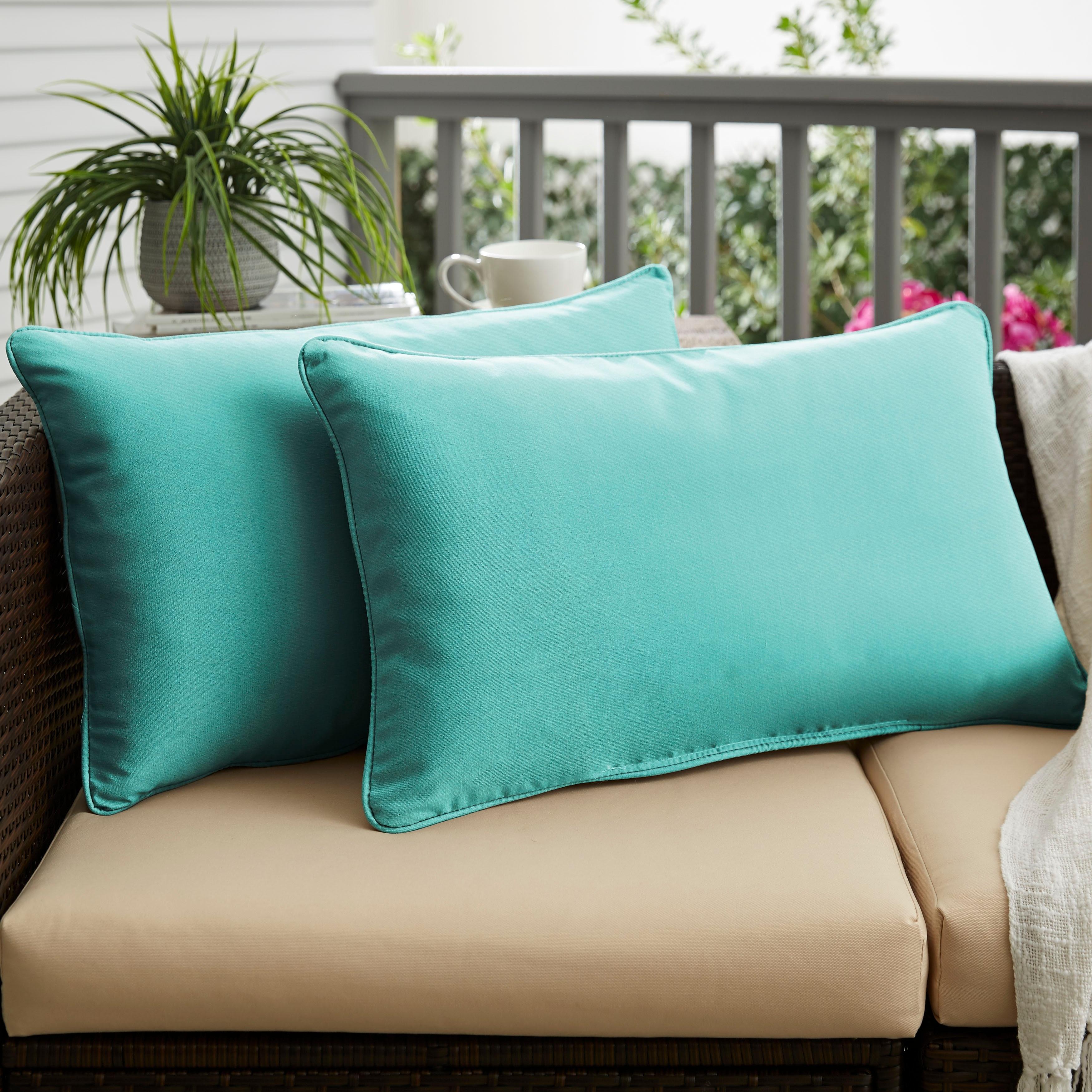 Sunbrella Canvas Aruba Corded Indoor Outdoor Pillows Set Of 2 Overstock 8701052