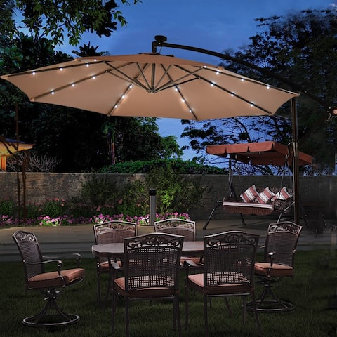 "10"" Patio Hanging Solar LED Umbrella Sun Shade - Cross Base Included - Tan Color"