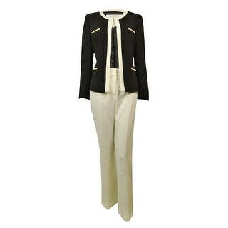 Tahari Women's Dubai Dream Pearl Chain Crepe Pant Suit