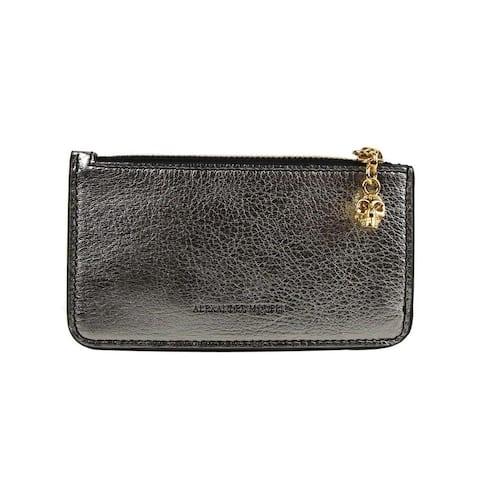 Alexander McQueen Women's Silver Metallic Grain Leather Card Holder 501022 1300 - One Size