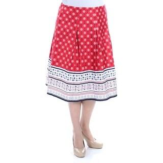 CHARTER CLUB $60 Womens New 1040 Red Nautical Pleated Skirt 12 B+B