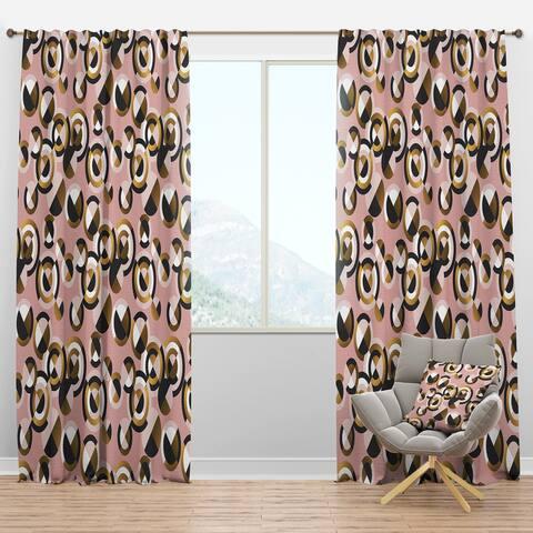 Designart 'Circular geometric shapes retro pattern' Mid-Century Modern Blackout Curtain Panel