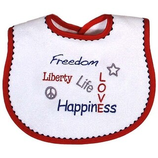 """Raindrops Unisex Baby Red """"Freedom, Liberty, Life, Love and Happiness"""" Bib - One size"""