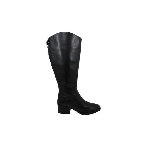 INC International Concepts Women's Shoes Cerie Leather Almond Toe Knee High Fashion Boots
