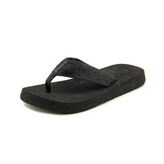 Reef Sandy Women Open Toe Canvas Black Thong Sandal