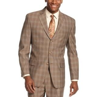 Sean John 3-Button Blazer 36 Regular 36R Blazer Brown Plaid Suit-Separates