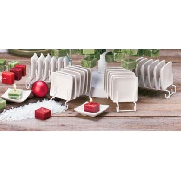 Pack of 12 Holiday Naturals Square White Ceramic Christmas Candle Holders 3""