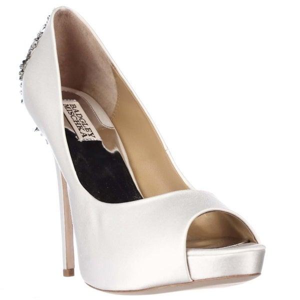 Badgley Mischka Kiara Jeweled Heel Platform Peep Toe Pumps, White