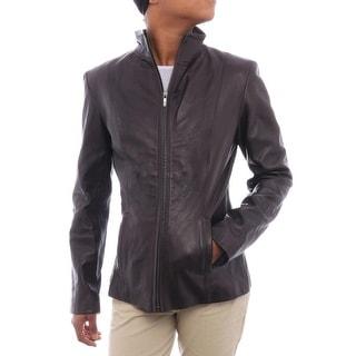 Cole Haan Women Collared Genuine Leather Jacket Basic Jacket Chocolate