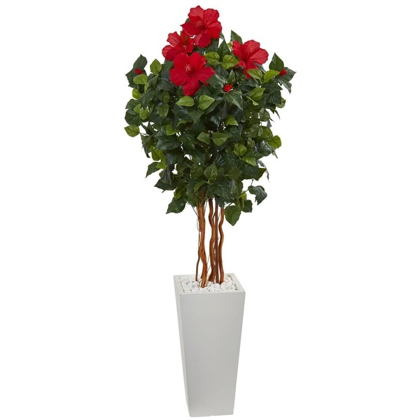 Nearly Natural 5' Hibiscus Artificial Tree in White Tower Planter