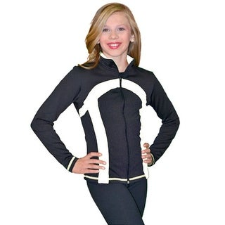ChloeNoel Black White Thick Stripe Ice Skating Jacket Girl 4-Adult XL