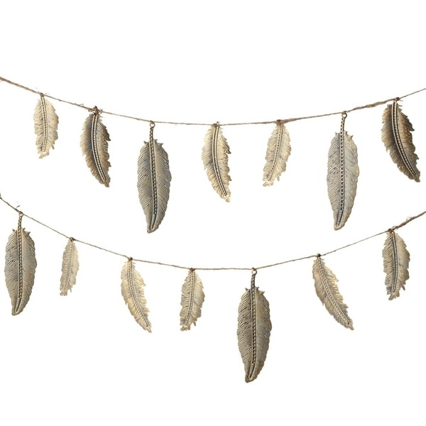Set of 4 Gold Feather Metalic Finished Indoor and Outdoor Decorative Garland 72""