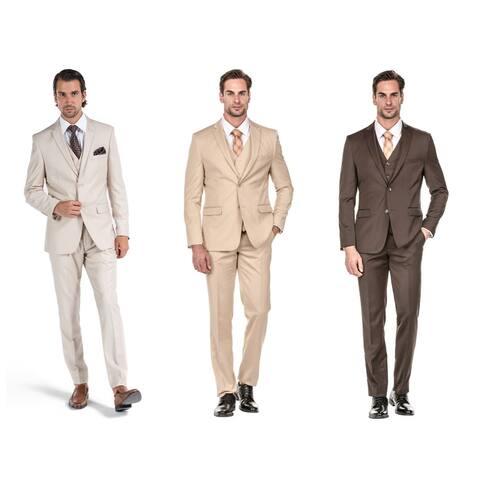 Porto Filo Men's 3 Piece Slim Fit Suit (Brown, Bone, Beige)