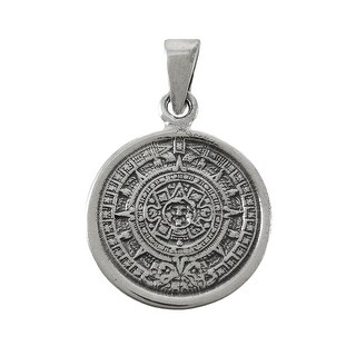 Highly Detailed Sterling Silver Aztec Calendar Pendant