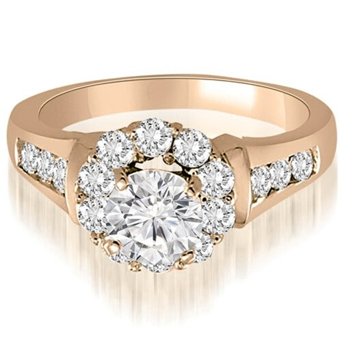 1.50 cttw. 14K Rose Gold Halo Round Cut Diamond Engagement Ring
