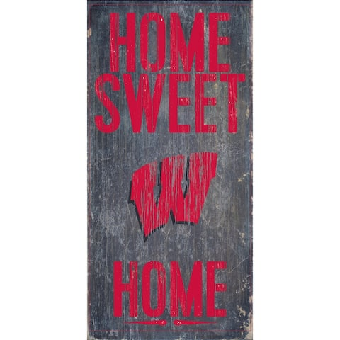 "Wisconsin Badgers Wood Sign - Home Sweet Home 6""x12"""