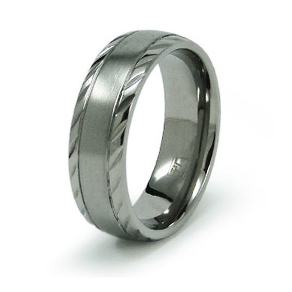 Stainless Steel Grooved Ring Band
