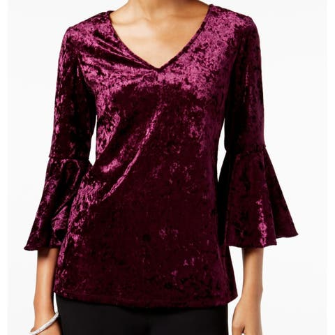 MSK Eggplant Purple Womens Size Large L Velvet Bell Sleeve Blouse