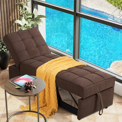 Futzca Convertible Chair Bed, 4-in-1 Multi-Function Adjustable Recliner, Modern Linen Fabric Sleeper Sofa Bed