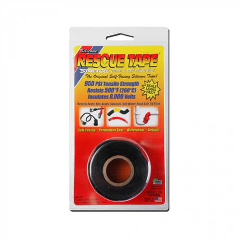 "Rescue Tape RT1000201201USC Self-Fusing Silicone Tape, 1"" x 12', Black"
