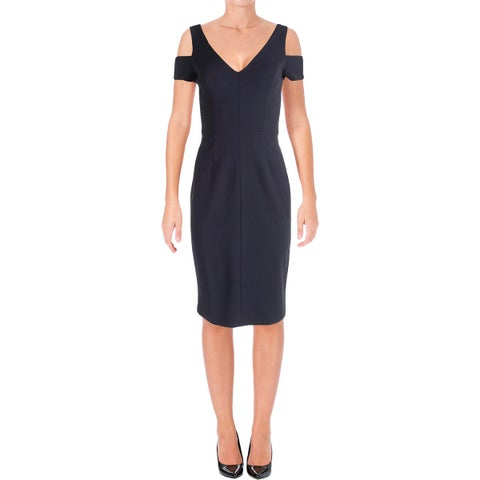 Vera Wang Womens Cocktail Dress Crepe Cold Shoulder