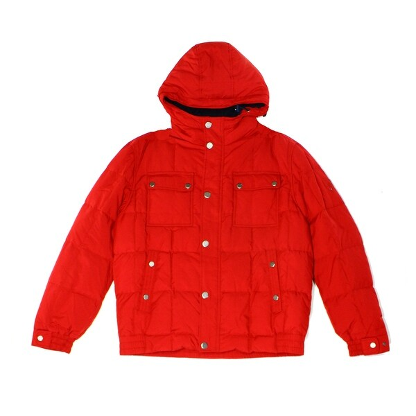 ae83e65bc0a4 Tommy Hilfiger NEW Apple Red Men  x27 s Size 2XL Hooded Puffer Jacket