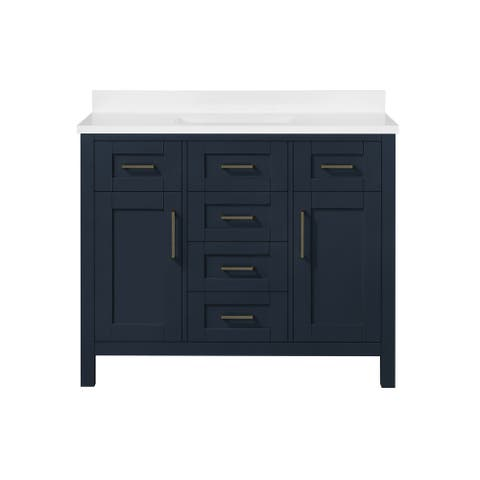 OVE Decors Tahoe III 42 in. Vanity in Midnight Blue With Power Bar