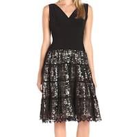 SLNY Black Beige Womens Size 12 Ruched Lace V-Neck Sheath Dress