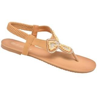 Lucita Adult Tan Glitter Rhinestone Clover Flip Flop Sandals