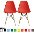 2xhome Modern Plastic Chairs Eiffel Chairs Side Dining Chair Colors With Natural Wood Legs (Set of 2) - Thumbnail 2