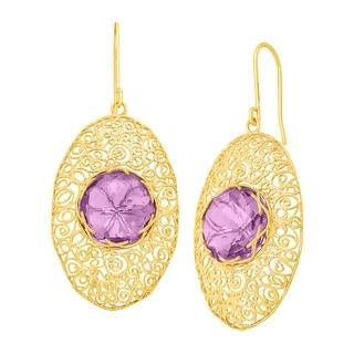 10 ct Natural Amethyst Drop Earrings in 14K Gold - Purple