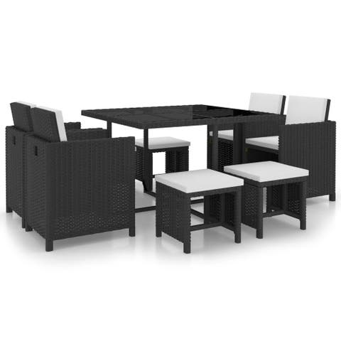vidaXL Outdoor Dining Set 21 Piece Wicker Black Garden Furniture