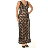 CONNECTED Womens Black Lace Sleeveless V Neck Maxi Body Con Dress  Size: 6