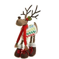 "12"" Merry & Bright Faux Suede Plush Reindeer in a Knit Sweater Christmas Figure Decoration - brown"