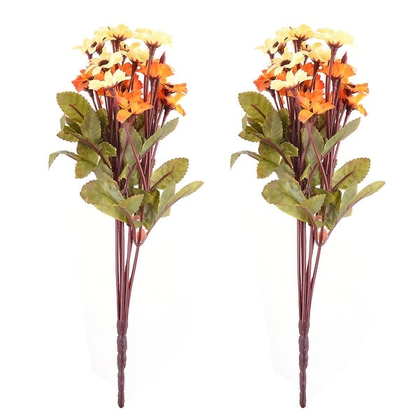 Dorm Table Ornament Fabric Craft Artificial Flower Bouquet Yellow Orange 13 Inch Height 2pcs