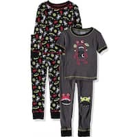 Only Boys 2T-4T 4-Piece Cotton Pajama Set - Grey