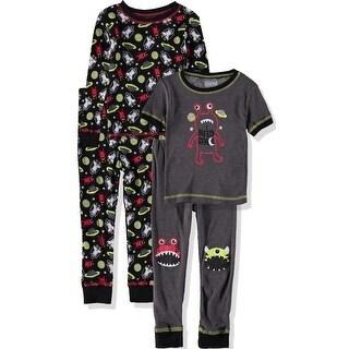 Only Boys 2T-4T 4-Piece Cotton Pajama Set - Grey