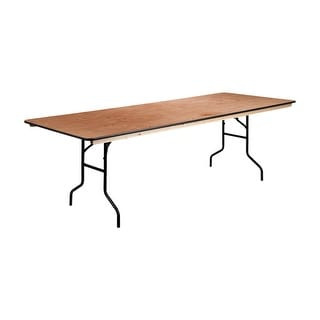 "Offex 36"" x 96"" Rectangular Wood Folding Banquet Table with Clear Coated Finished Top"