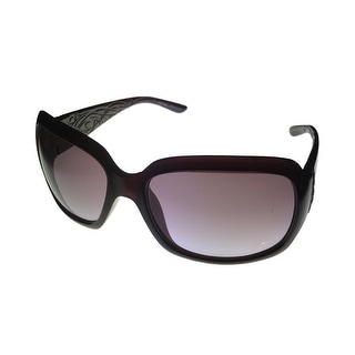 Ellen Tracy Womens Sunglass 505 3 Eggplant Plastic Rectangle, Gradient Lens - Medium