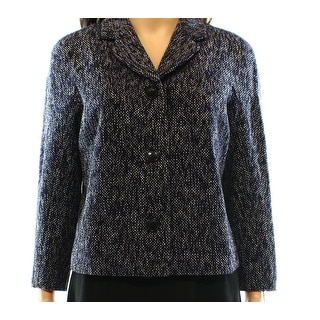 Tommy Hilfiger NEW Black Blue Women's Size 2 Tweed Three Button Coat