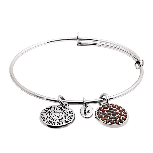 Chrysalis Expandable January Bangle Bracelet with Burgundy Swarovski elements Crystals in Rhodium-Plated Bras