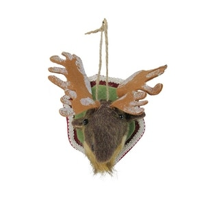 "Link to 7"" Gray and Beige Stuffed Moose Head Plaque Christmas Ornament Similar Items in Christmas Decorations"