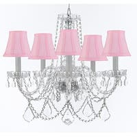Crystal Chandelier Lighting With Pink Shades