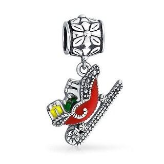Bling Jewelry Santas Sleigh Christmas Dangle Bead Charm .925 Sterling Silver