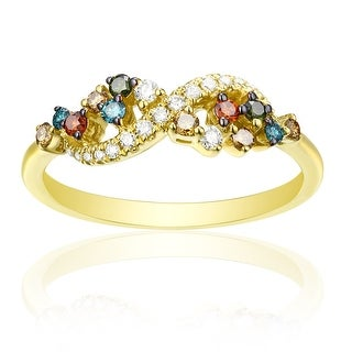 Beautuful 0.36ct Round Cut G-H/SI1 Multi Color Diamond & Natural Diamond Fancy Ring - White G-H