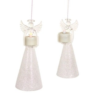 Pack of 4 of an Assortment of 2 White Glass Angels With Tea Lights 8.5