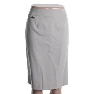 Calvin Klein Womens Flat Front Stretch Pencil Skirt - 2