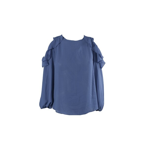 Bcx Juniors Denim Blue Ruffled Cold-Shoulder Blouse XL